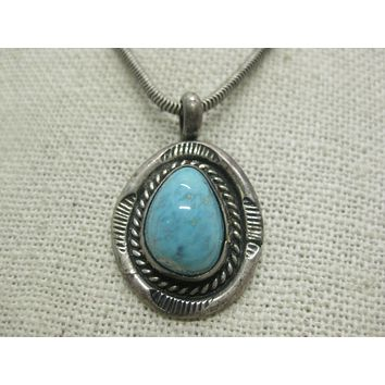 """Vintage Southwestern Sterling Turquoise Necklace, Navajo, 18"""", 2.5mm chain, 16.62grams, 1970's"""