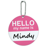 Mindy Hello My Name Is Round ID Card Luggage Tag