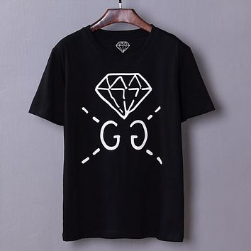 GUCCI spring and summer new catwalk custom models men's diamond GC short sleeve t-shirt youth shirt  Black
