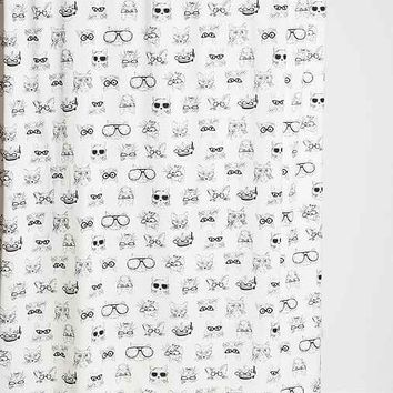 Plum & Bow Smart Cat Shower Curtain- Black & White One