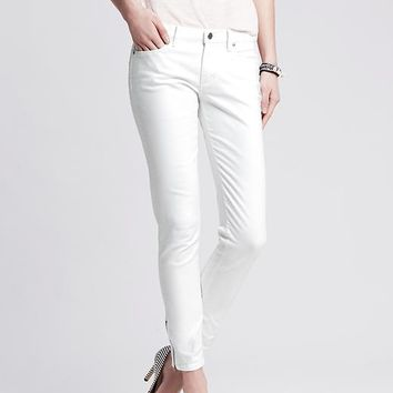 Banana Republic Womens White Skinny Ankle Zip Jean