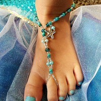 Barefoot sandals in mermaid blue-green glass, crystal and pearl beads!