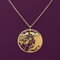 gold globe necklace- the world pendant- Planet Earth- 24 karat gold plated necklace