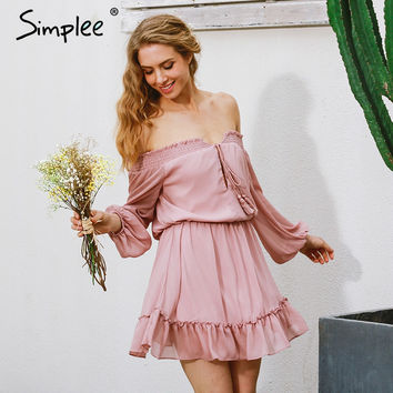 Simplee Short chifon vintage dress women Off shoulder long sleeve beach summer dress Ruffle sexy dress new year vestido de festa