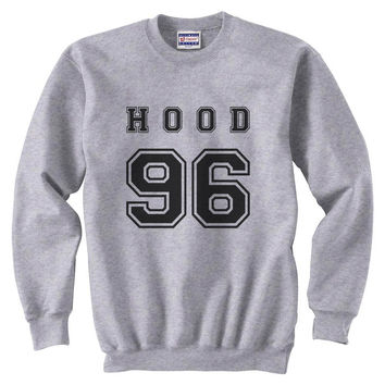 Hood 96 Black Ink on Front Calum Hood Unisex Crewneck Sweatshirt