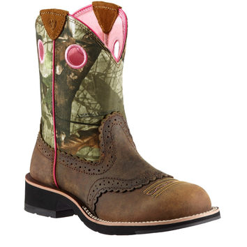 Ariat Women's Fatbaby Sheila Boots, Distressed Brown and Mossy Oak Camo - 10006854