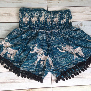 High waisted Pom pom Shorts Elephants Boho Print Summer Beach Chic Fashion Tribal Aztec Ethnic Clothing Bohemian Ikat Cloth pompom Green