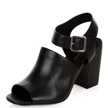 Black Leather Cut Out Peep Toe Heeled Sandals