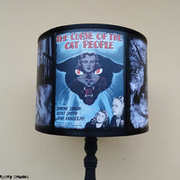 The Curse of the Cat People lamp shade Lampshade - Halloween, lighting, classic horror movies, Spooky Shades, film noir, movie poster,kitsch