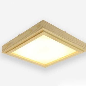 Japanese Style Tatami Wood Ceiling and Pinus Sylvestris Ultra-thin LED 30/33/43cm Wooden LED Lamp Square Ceiling Lamp Fixture