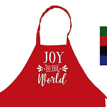 StickerChef Joy to The World Christmas Chef's Funny Cooking Apron Kitchen, BBQ Grill, Breathable, Machine Washable