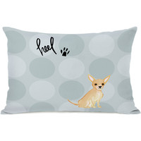 """Pup Words Chihuahua"" Indoor Throw Pillow by April Heather Art, 14""x20"""