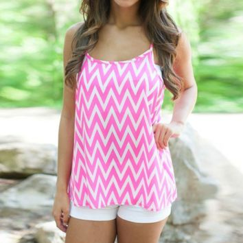Pink Chevron Waves Tank Top Vest