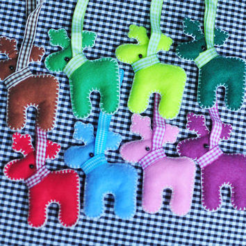 Set 8 Pieces Mixed Colors Lovely Felt Reindeer - Christmas Tree hanging Ornament - Felt Reindeer for Christmas Decoration