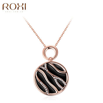 ROXI New Pendant Necklace for Women Rose Gold Color individual drops of oil zebra Necklaces Fashion Jewelry Women Accessories