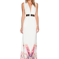 White V Neck Floral Print Maxi Dress - Sheinside.com