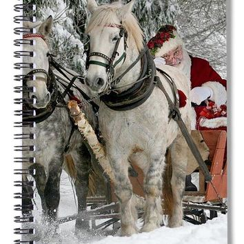 Santa Sleigh With Horses - Spiral Notebook
