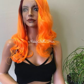 "Neon Orange Human Hair Blend 4"" Deep Parting SWISS Lace Front Wig 180% density - TANG 81729 ON SALE"