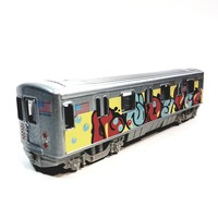 "Metro NYC New York City 7"" Train Puffy Letter Tag Graffiti Retro Subway Car 1/100 Scale Diecast"