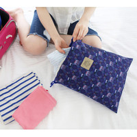 Indigo Stylish photo pattern travel drawstring pouch set of 3