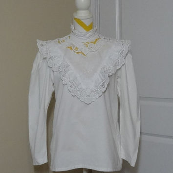 1980s Victorian Style Long Sleeves White Blouse by Brigitte Hernuss of Austria with Lace Trim, Size Medium to Large, All Cotton