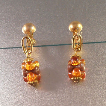 Hobe Earrings, Dangle Drop, Amber Celluloid, Clip On