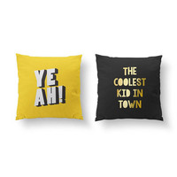 SET of 2 Pillows, The Coolest Kid In Town, Kids Pillow, Gold Pillow, Nursery Decor, Bed Pillow, Yeah Pillow, Throw Pillow, Cushion Cover