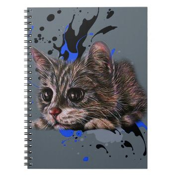 Drawing of Kitten as Cat with Paint Art Notebook