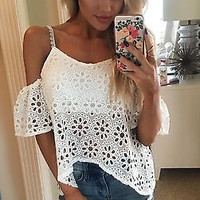 Hot Sexy Women Casual Boho Lace Off Shoulder Shirt Summer Crop Tank Tops Blouse NEW