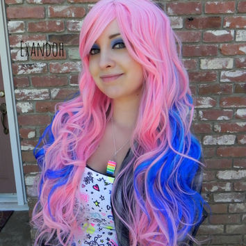 ON SALE // Blue and Pink Wig - Cotton Candy Wig, Pastel Hair, Cosplay Wig, Dress Up Wig - Long Curly Layered with Natural Scalp Piece