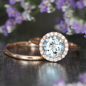 Natural Aquamarine Halo Diamond Engagement Wedding Ring Set in 14k Rose Gold 8x8mm Aquamarine Ring and Dainty Rose Gold Wedding Band