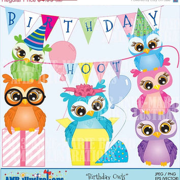 40% OFF AMB-268 Owl Birthday party for clipart and card design, vector graphics, digital clipart, instant download