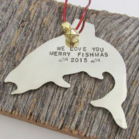 Personalized Ornament Merry Christmas 2015 Ornament Family Gift Merry Fishmas Wall Decor Metal Art Trout Jumping Fish Hand Stamped Ornament