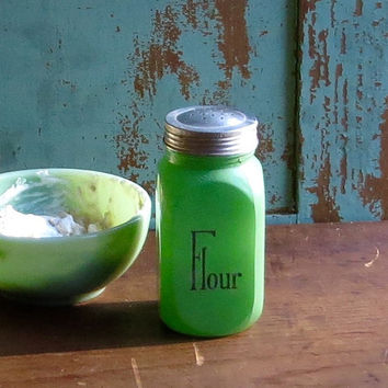 Vintage Flour Shaker, Green Fired On Jadeite Color, Hoosier Canister, Black Letters, Retro Glass Spice Jar, 1950s Diner Decor
