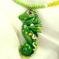 Polymer clay seahorse necklace, Green yellow white underwater creature pendant, Sea mermaid jewelry, Natural freshwater pearl