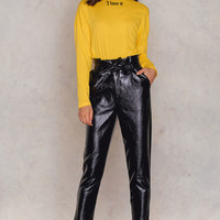 Paperwaist Patent Leather Pants