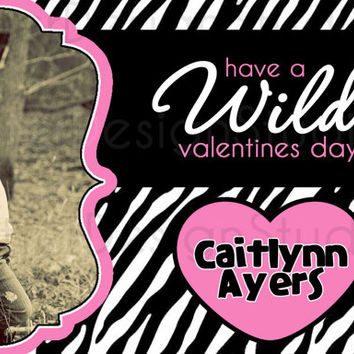 Zebra Wild About You Personalized Valentines Day Card - Printable