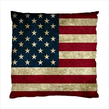 """American Flag Grunge United States USA Throw Pillow Cushion Case Slip Cover Polyester Fabric 17"""" or 20"""" Square Custom Design Made to Order"""