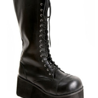 Demonia By Pleaser Black Patent Lace And Zip Boots