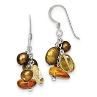 Sterling Silver Amber/Citrine & Copper FW Cultured Pearl Earrings QE6216