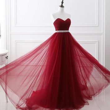 Dark Red Evening Dresses Net Pleat Beading Custom Made Lace-up Back Prom Party Gown With Court Train