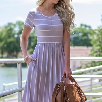 Striped Lavender Hue Pocket Dress