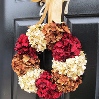 Front Door Wreath, Fall Wreaths, Autumn Decor, Holiday Door Decor, Red Hydrangeas
