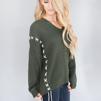 Through the Woods Forest Green Sweater
