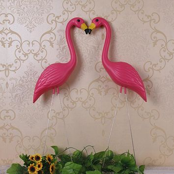 "2 plastic bight pink premium flamingos garden ,yard and lawn art ornament wedding ceremony decoration with 34"" height"