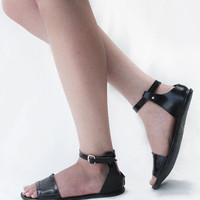 Handmade Leather Sandals- Cut Here in Black - CUSTOM FIT