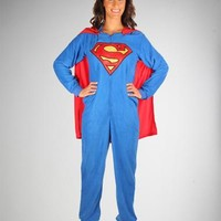 Classic Superman Caped Footed Adult Pajamas