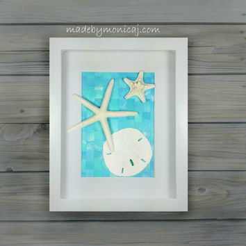 Wall Decor For Your Coastal Inspired Home. Seashell Art in a Shadow Box  Ocean Blue Decor