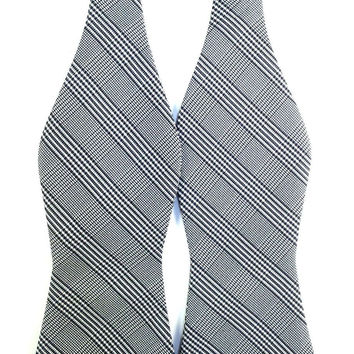 Black White Grey Plaids - Self-Tied Bow Tie