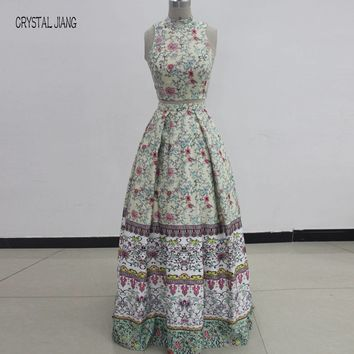 CRYSTAL JIANG Two Pieces High Neck Floral Printed Satin Custom made Floor Length Cheap Long Prom Gowns Real Photos Show
